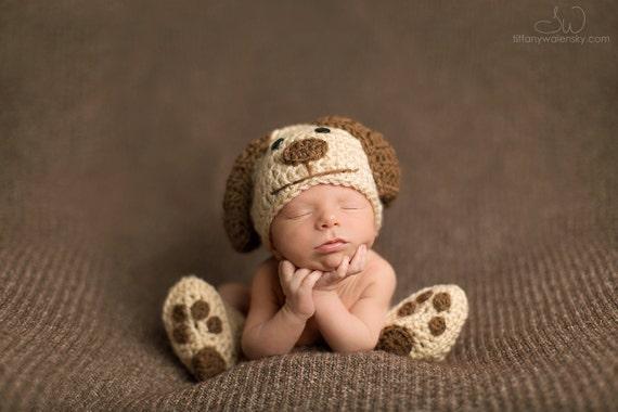 crochet newborn baby dog hat booties set crochet newborn photo. Black Bedroom Furniture Sets. Home Design Ideas