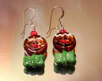 Gingerbread Head Earrings