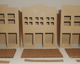 Little Village Cardboard Christmas Putz Houses- 3 Storefronts