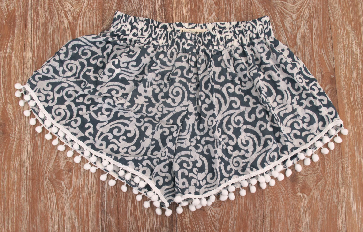 Cute Patterned Pom Pom Shorts Loose Fit Navy Swirl Print
