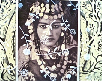 """SALE: Original Collage From Found Materials  - Original Collage Art - """"Flower Veil"""" Collage"""