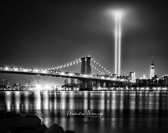 New York Photography - 9/11 Memorial Lights over Manhattan Black and White Photograph. Manhattan, New York - 8x10 photo