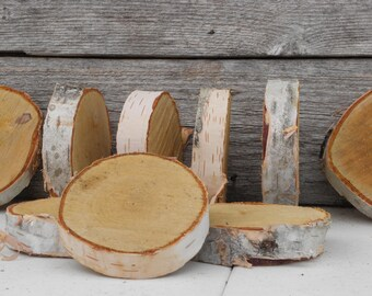"WHITE BIRCH WOOD - Rustic Country Wedding Table Party Decor, Kids Crafts, 3.5"" - 4"" Diameter x .75"" - 1"" Thick, Set of 18 Tree Slices,"