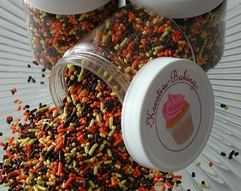 Fall Sprinkle Mix-Comes in an assortment of brown, yellow, and orange sprinkles