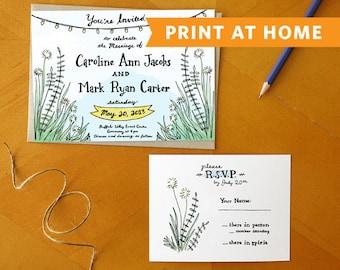A Southern Romance: Print at Home Wedding Invitation and RSVP Postcard Suite - Perfect DIY Rustic Invite, Barn Invite, Country Invite