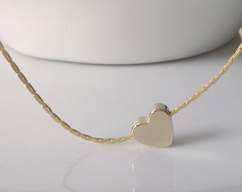 Heart Necklace, Gold Heart Necklace, Bridesmaid Gifts, Bridesmaid Necklace, Gifts for Girls, Seller UK, Tiny Heart Necklace, Heart Jewellery