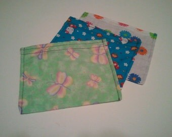 Set of THREE (3) Reusable Snack Bags w/ VELCRO closure(you choose fabric)