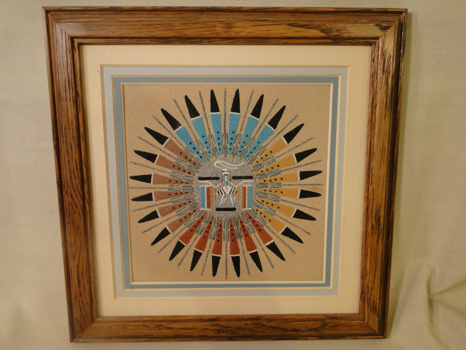 Reserved for Girl 5449 ....Navajo Sand Painting Sun & Eagle