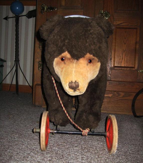 Large vintage steiff  ride on brown bear on wheels