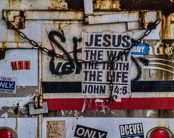 Jesus in Chains, NYC, Religion, Abstract, Christianity, Photograph, Red, Black, White