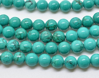 """16""""  6mm   Green   Turquoise  Round   Bead"""