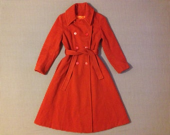 1960's, wool, belted, trenchcoat, in burnt orange, with brialliant orange lining