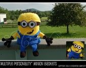 """Crochet Pattern: """"Multiple Personality"""" Minion Basket Pattern, Includes 6 Characters, Permission to Sell Finished Items"""