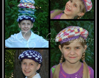 Crochet Pattern: Kids Flat Cap, Sizes 6m thru 10 yrs Permission to Sell Finished Items