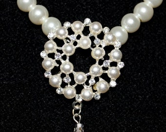 Bridal Pearl Necklace, White Pearl Necklace, Bridal Pearl And Crystal Necklace, Bridal Necklace Pearl, Wedding Jewelry, Chunky Neklace