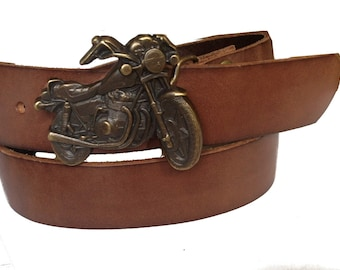 Men's Distressed Brown Motorcycle Leather Belt Size 36 -  Summer Gift Idea
