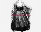 Black Gothic WITCHY WOMAN Witch Vampire Vampiress Gown Plus Size Halloween Costume Adult Womens 1X 2X 3X 4X 5X - 2 pcs New