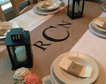 """Burlap Table Runner  16"""" & 18"""" wide Monogram - Wedding runner Bridal shower Home decor Wedding gift Housewarming gift"""