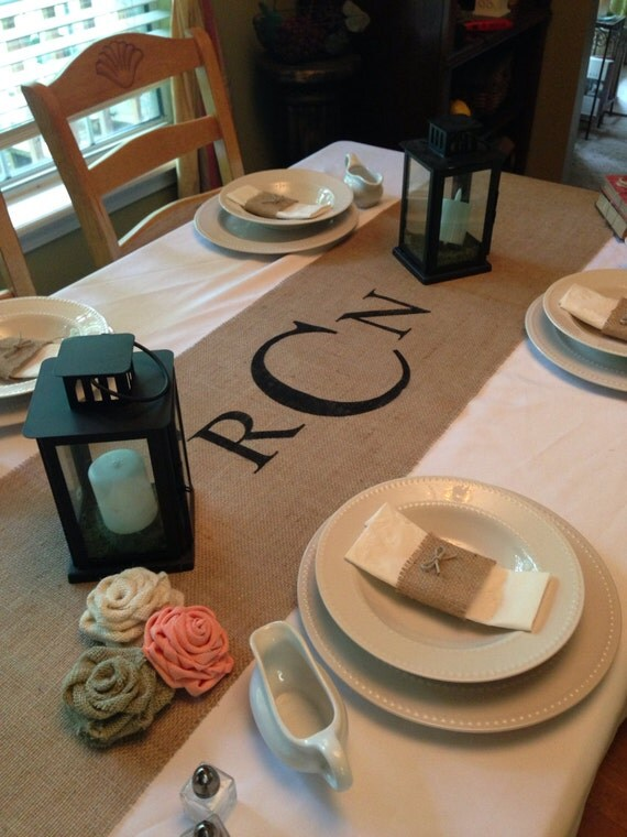 burlap table runner 16  u0026 18 wide monogram