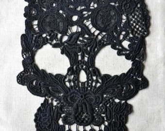 black lace applique, skull lace applique, cotton lace fabric trim
