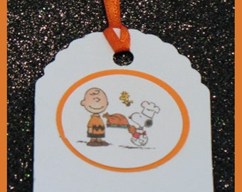 Charlie Brown Thanksgiving gift tags, Charlie Brown Thanksgiving favor tags, Charlie Brown Thanksgiving place cards, set of 10