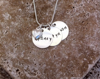Circle Pendants with Heart Charm - Personalized Mommy Necklace - Hand Stamped - Mom Mommy Nana Gigi Grandma Oma