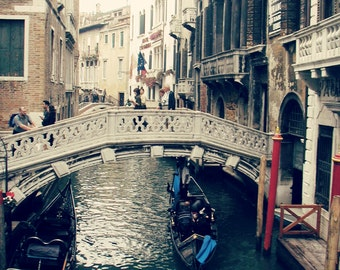 "Venice Photography ""Under the Bridge"" Fine Art Italy Travel Photograph, vintage, Wall Decor, gondola, gondolier, Grand Canal"