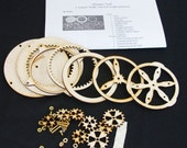 Wooden gear desk toy kit