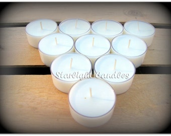 6 Unscented Soy Tealight Candles All Natural Dye Free