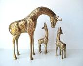 Vintage Brass Giraffe Trio, Mother and Baby Set