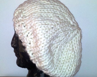 Slouch beanie knit slouchy hat, white wool hat