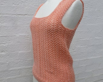 Vintage small women's handmade tank top peach clothing handknitted tank vest top 1990s vintage tank top peach pink tank small lady eco gift.