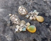Ethiopian Opal and Crystal Earrings in Sterling Silver