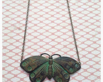 Green Patina  butterfly necklace