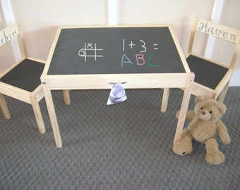 Kids Chalkboard Table and Chair Set...in Coal Black...KIDFUSION