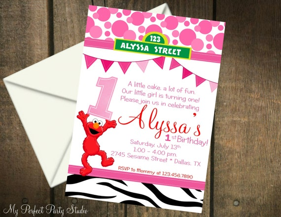 Elmo Girl Zebra Themed Printable 1st Birthday Invitation