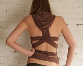 Umba Cross Back Tank with Hood - Fun - Dance - Yoga - Best Seller - festival -tribal wear