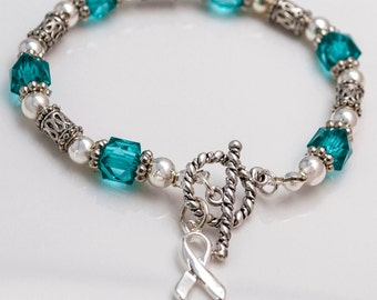 Cervical Cancer / Ovarian Cancer Teal Ribbon Square Beaded Bracelet with Twisted Clasp Closure
