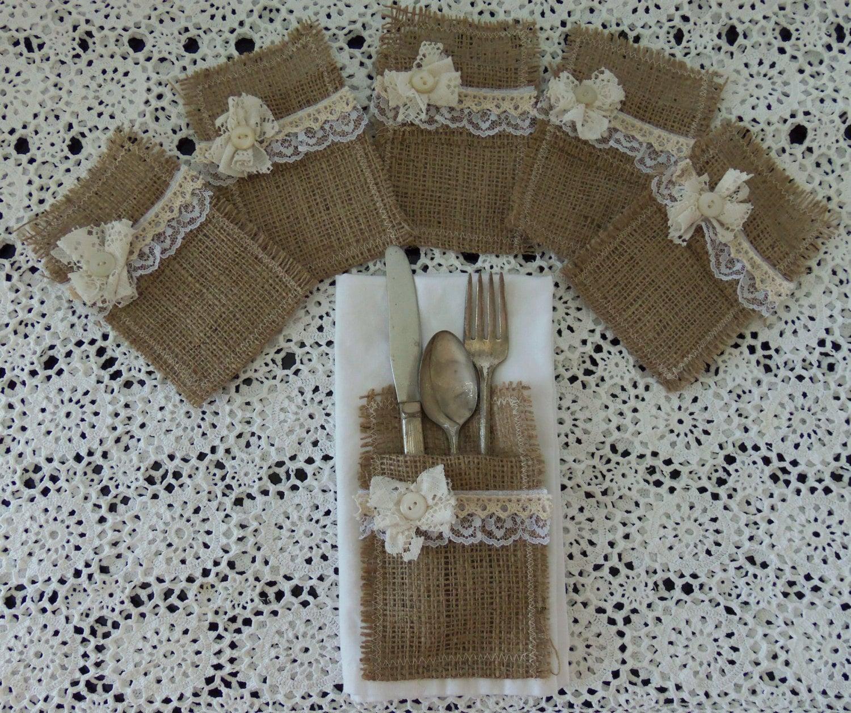 Burlap Wedding: Set 6 Burlap Silverware Holders Pockets Rustic Wedding Bridal