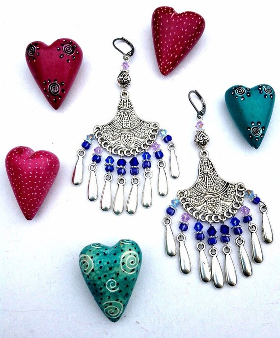 Gypsy Nights Fringe Earrings with Swarovski Crystals and Teardrop