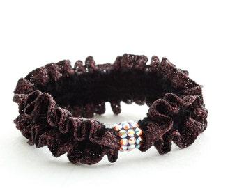 Chocolate Volcano Scrunchie, hair tie, dark brown ponytail holder with Swarovski elements crystals,brown and black rubber band