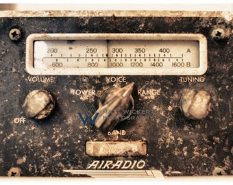 Aviation Photography, Vintage Aviation Radio Metallic Photographic Print