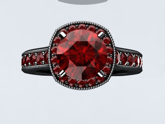 Items similar to Modern 14k Black Gold and Ruby Ring Engagement Ring Wedding