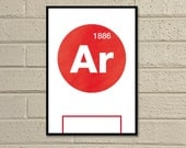 "Essential Elements: ""Arsenal"" A3 Football Print in red and white."