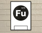 "Essential Elements: ""Fulham"" A4 Football Print in black and white."