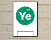 "Essential Elements: ""Yeovil"" A4 Football Print in green and white."