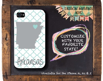 Arkansas iPhone Case, Personalized iPhone Case, Geometric Phone Case, iPhone 4, 4s, iPhone 5, 5s, 5c, iPhone 6, 6S, 6 Plus, Phone Case