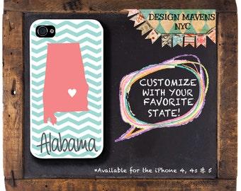 Alabama iPhone Case, Personalized iPhone Case, Gift iPhone Case, iPhone 4, 4s, iPhone 5, 5s, 5c, iPhone 6, 6s, 6 Plus, SE, iPhone 7, 7 Plus