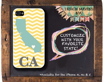 Personalized iPhone Case, State Love California Plastic iPhone Case, Fits iPhone 4, iPhone 4s & iPhone 5, Phone Cover, Phone Case