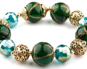 Teal Murano Glass Beaded Stretch Fashion Bracelet with Gold Spacers and Beads